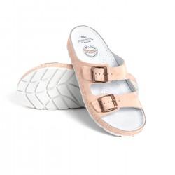 zdravotní růžové kožené pantofle s maskáčovým vzorem BATZ Zorka