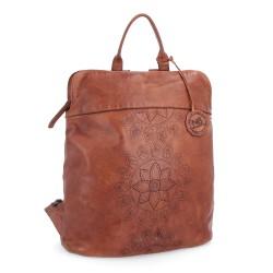 hnědý kožený batoh s mandalou BS 2098