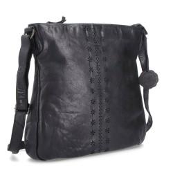 černá kožená crossbody kabelka s květinami BS 2073