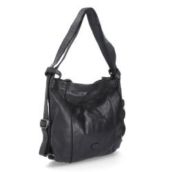 černá kožená kabelka a batoh v jednom BS 2061