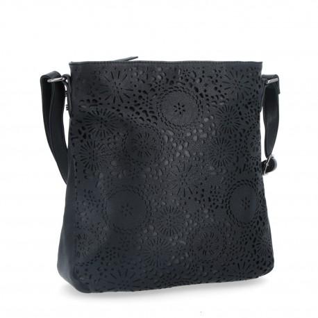 černá crossbody kabelka s perforací 6251