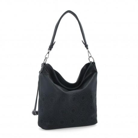 černá kabelka s perforací 6258
