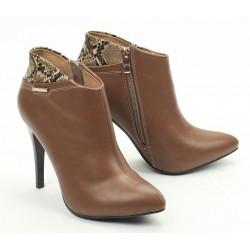 khaki kotníčková obuv na podpatku