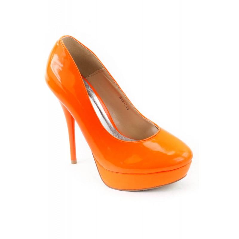 neonově oranžové lodičky na vysokém podpatku - Danea-Shoes ef63bc9d9f